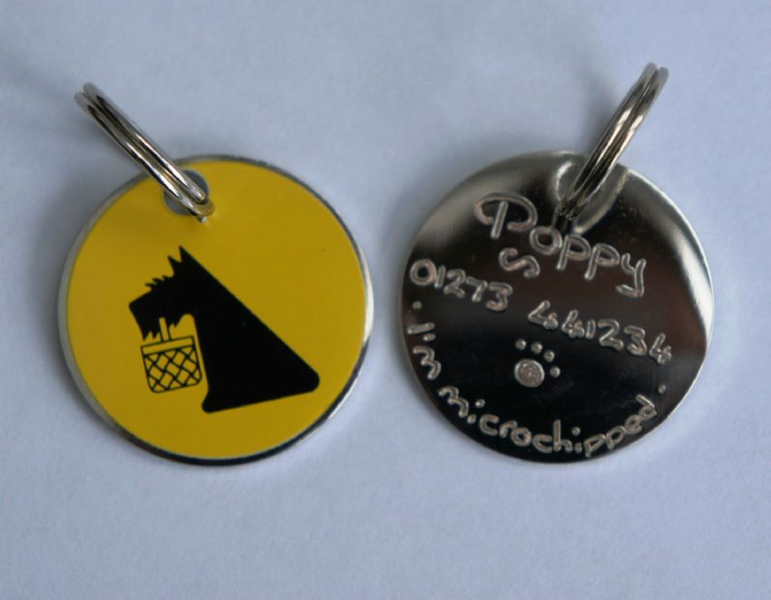 DOG ID TAG - ENGRAVED FREE - Bright Yellow